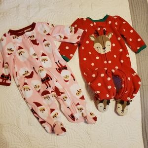 2 infant Christmas footies